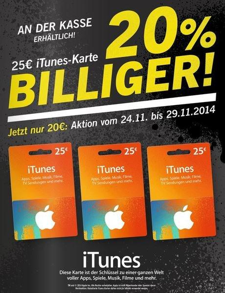 [offline, bundesweit] EUR 25 iTunes Karte für EUR 20 @LIDL ab 24.11.2014