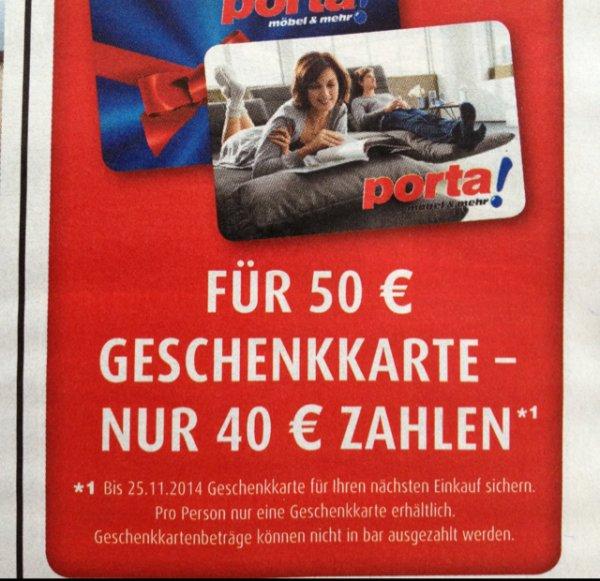 Porta Möbel - für 50€ Geschenkkarte nur 40€ zahlen - bis zum 25.11.2014
