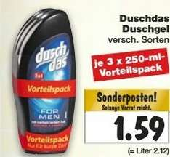 [Kaufland bundesweit KW 48] Duschdas 3er Pack für 1,59€
