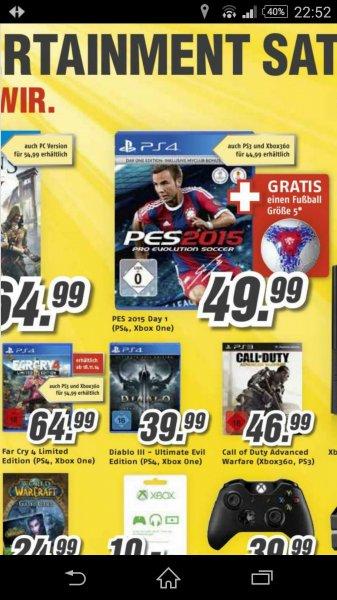 Diablo UE Edition PS4 39,99 od.  PES 15 Day One inkl. PES Fußball für 49,99