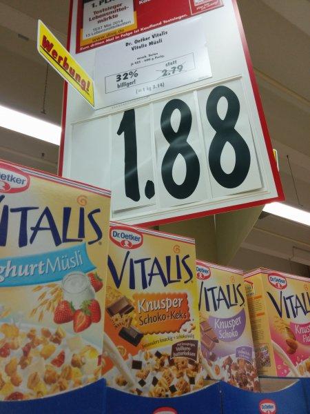 Kaufland (bundesweit) Vitalis Müsli versch. Sorten für 1,88€ 425-600g