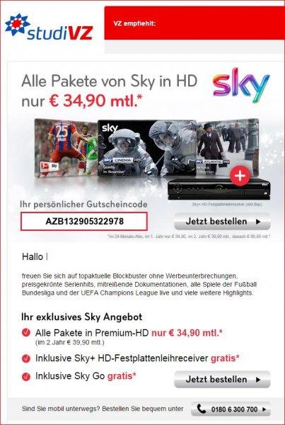 Sky Komplett + HD Premium + Sky Go für 34,90€ pro Monat (24 Monatsvertrag)