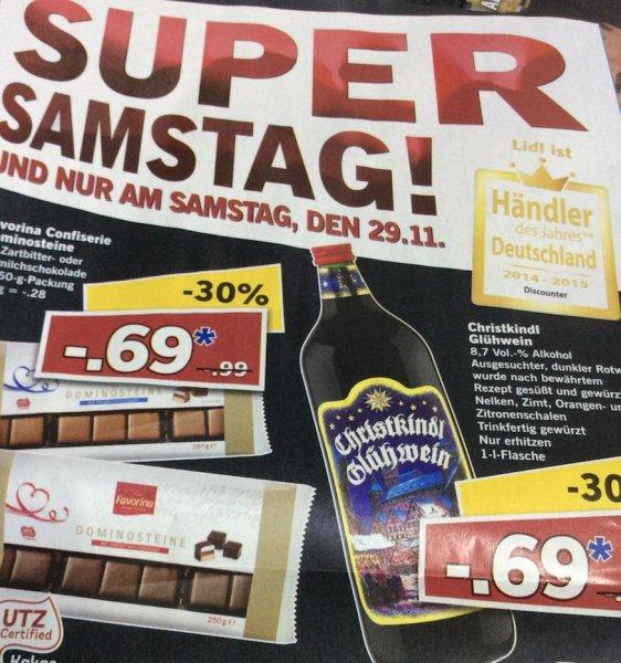 LIDL Christkindl Glühwein 8,7% 1l für 69 ct Super Samstag am 29.11.