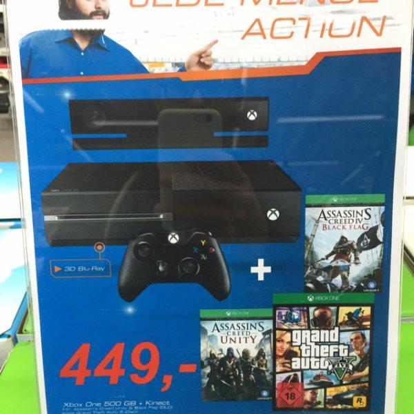 Xbox One mit Kinect + Assassins Creed Unity und Black Flag + GTA V für 449 lokal @Saturn München OEZ