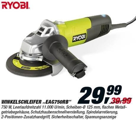 Winkelschleifer Ryobi EAG750RB mit Tasche (125mm-Scheiben)