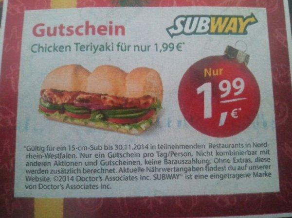 [Lokal NRW] SUBWAY Chicken Teriyaki für 1,99€