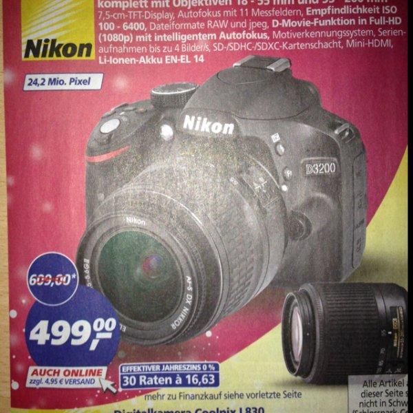 Nikon D3200 bei Real 24.11. - 29.11.2014 mit 2 Objektiven