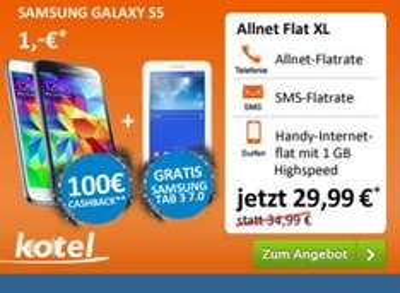 Samsung Galaxy S5 + Tab 3 + Allnet-Flat für 29,99 Euro mtl., 24 Monate Vertragslaufzeit+einmalig 1 Euro