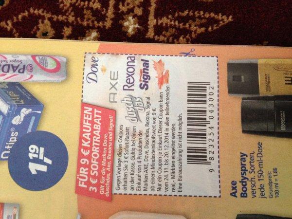 Bei Real 3€ Rabatt auf die Marken Dove, duschdas, Axe und Signal