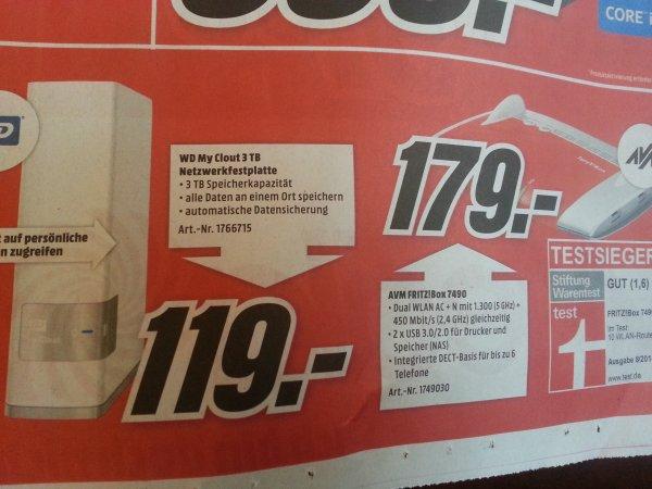 [lokal Heilbronn] AVM Fritzbox 7490 für 179€ & WD My Cloud 3TB für 119€