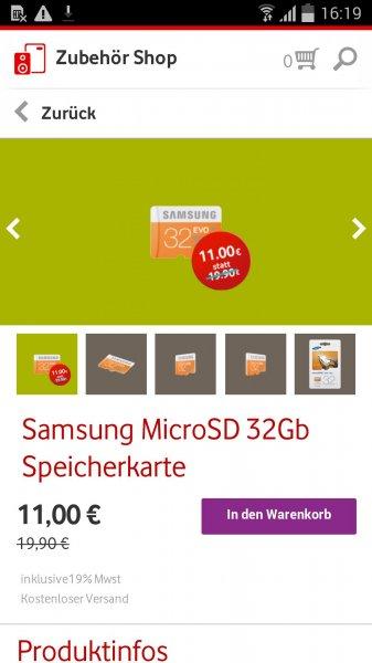 Samsung EVO 32GB MicroSDHC 11,-€ statt 19,99€ @ Vodafone Zubehör 45% billiger