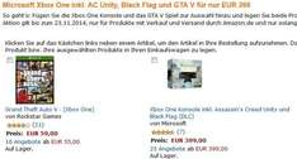 Xbox One Assassins Creed Bundle + GTA V für 404€ (NUR HEUTE!!!)