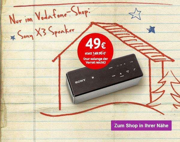 Sony SRS-X3 NFC und Bluetoothspeaker für 49 € (idealo: 107,98 €) in allen Vodafone-Shops