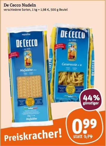 De Cecco - Pasta @tegut 500g/0,99€