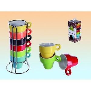 [ebay.de] Espresso-Set von SalesFever 6 Tassen Bunt im Ständer + Geschenkbox für 1€