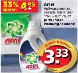 Regional Berlin - Ariel Vollwaschmittel, vers. Varianten, je 15 / 16 Packung / Flasche für 2,33 €