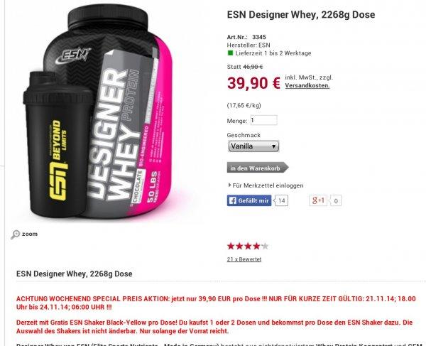 ESN Designer Whey, 1000g - 15,21eur, 2260g - 35,91eur (inkl. shaker)