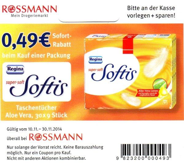 Rossmann - Regina Softies Taschentücher mit Regal-Coupon und 10% für 1,35€ statt regulär 2,49€