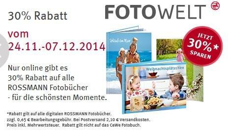 30% Online-Rabatt auf alle Fotobücher bei Rossmann vom 24.11-07.12