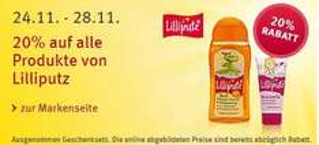 20% Rabatt auf alle Produkte von Lilliputz bei Rossmann vom 24.-28.11