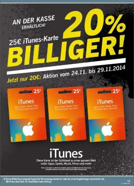 25€ iTunes-Karte für 20€ im Lidl vom 24.11.-29.11.