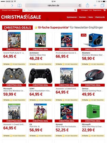 Games & Zubehör für PS4 und XBOX One bei Rakuten + 10 Fach Superpunkte (zB GTA V für 64,95)