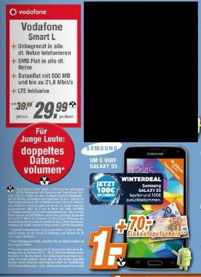 Vodafone Smart L (auch Junge Leute)  mit Galaxy S5 (Cashback) +70 € Gutschein für effektiv 11,53@Expert Technikmarkt