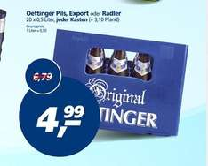 Oettinger Pils, Export, Radler 20x0,5 Liter für 4,99€