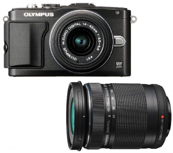 Olympus Pen E-PL5 Kit 14-42 mm + 40-150 mm (schwarz) für 400,99€