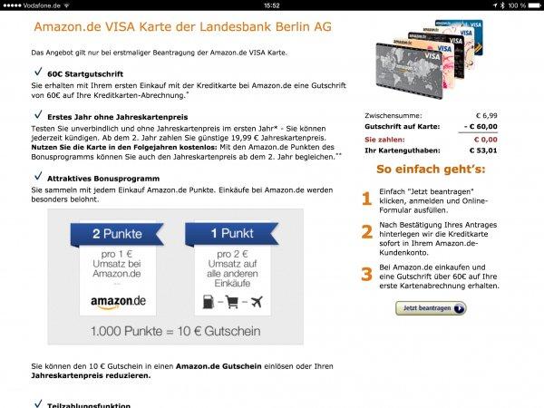 Amazon Kreditkarte aktuell wohl mit 60€ Startgutschrift