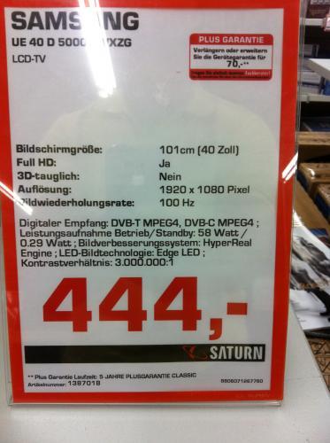 Samsung UE 40 D5000 444€ [Lokal] ? Saturn Berlin Treptow