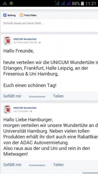 (Reminder) nur heute! Unicum Wundertüte in Frankfurt, Erlangen, Halle Leipzig, an der Fresenius & Uni Hamburg