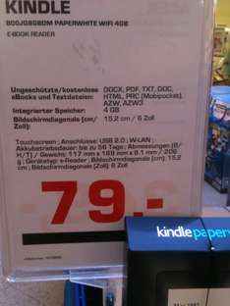 [Lokal] Kindle Paperwhite 4GB für 79€ bei Saturn Potsdam