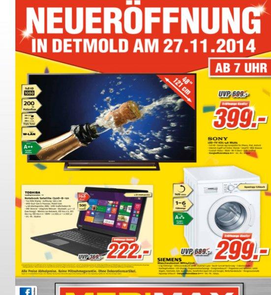 [lokal OWL Detmold] Medimax Neueröffnung am 27.11.: Sony KDL-48 w585 80€ unter Idealo für 399€