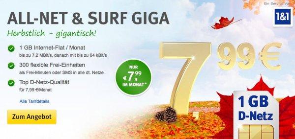 Mobilfunkvertrag - 1 GB Internet + 300 min/SMS für 7,99 €/Monat D-Netz