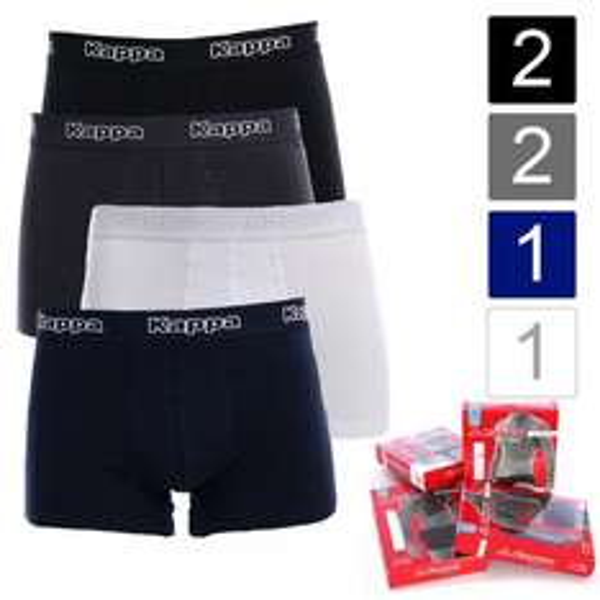 6er Pack Kappa Herren Boxershorts Sparpack Boxer 2x schwarz 2x steel, blau, weiß