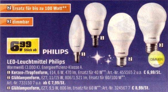 """[OBI Offline] 15-Watt-Philips- LED -Lampe (100-Watt-""""Birnen""""-Ersatz) für nur 12,99 €"""