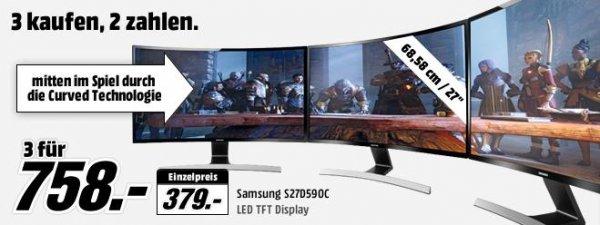Samsung SyncMaster S27D590C 3 zum Preis von 2 bei Mediamarkt