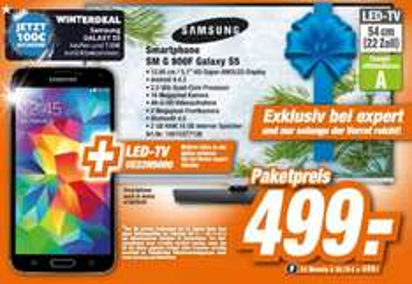 "[Lokal HEM Expert BW] Samsung Galaxy S5 + 22""-LED-TV UE22H5000 für 499,- € & 100,- € Samsung-Winterdeal-Cashback"