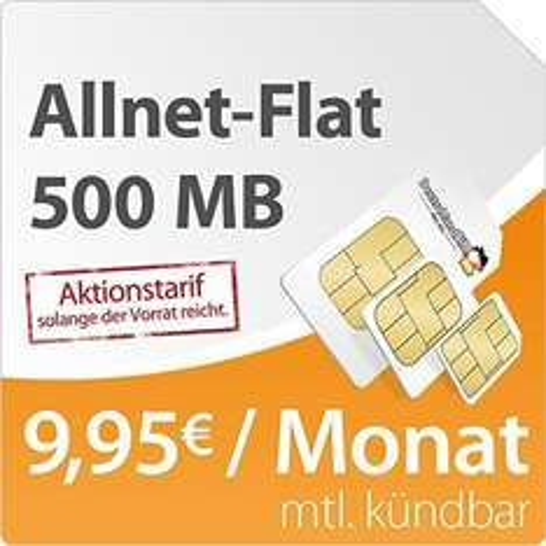 Allnet-Flat für WhatsApper - DeutschlandSIM Flat S 500: monatl. kündbar, 500MB Daten-Flat, Telefonie-Flat, 9ct pro SMS, 9,95 Euro/Monat, o2-Netz
