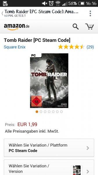 [Amazon.de] Tomb Raider 1,99€ SteamKey PC