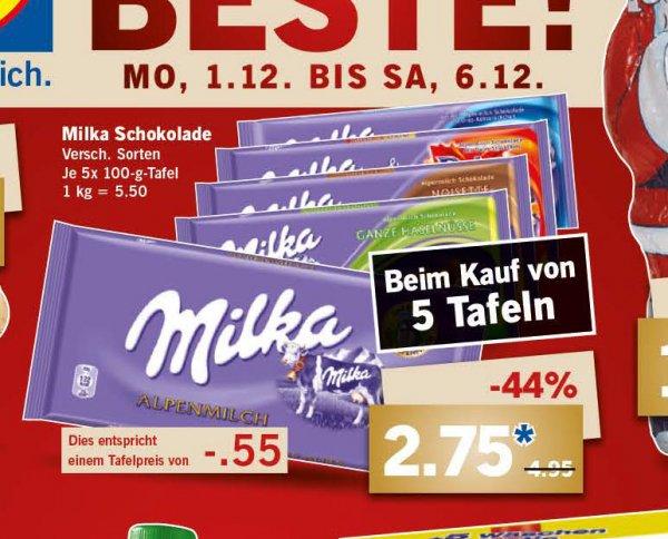 Milka Schokolade 5x100g Tafel für 2,75 € ab Montag bei Lidl