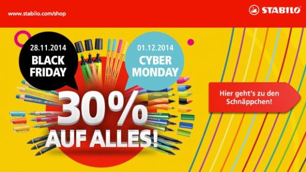 STABILO Onlineshop - 30% auf das gesamte Sortiment am 28.11. Black Friday und 1.12. Cyber Monday