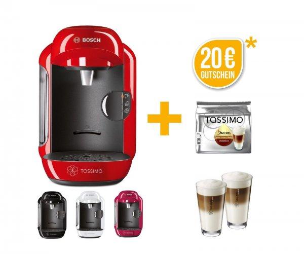 Bosch TASSIMO VIVY + 20€ Gutschein* +1x T Disc + WMF Gläser Heißgetränkemaschine  für 29,90