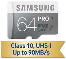 Samsung 64GB PRO Class 10 Micro SDXC up to 90MB/s with Adapter (MB-MG64DA/AM) umgerechnet ca. 40€