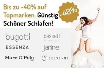 Markenbettwäsche von u.a. Marc O'Polo, Bassetti, bugatti und Essenza Bettwäsche um bis zu 40% auf belsonno.de reduziert