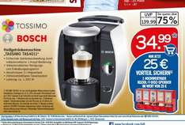 """Bosch """"TASSIMO TAS4011"""" bei Lidl für 34,99 € (25,- KOZIOL-T-DISC-Spender) ab 01.12."""