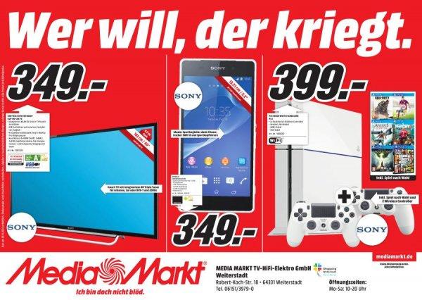 (Lokal Weiterstadt) PS4 in weiß mit 2 Controller + 1 Spiel nach Wahl für 399,-