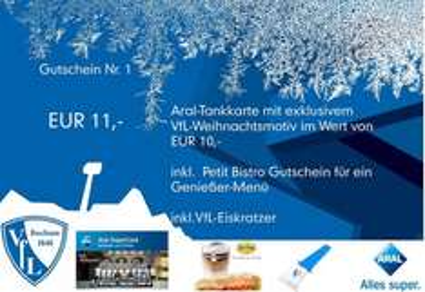 Vfl Bochum Paket: Aral Tankgutschein + Bistro Gutschein + Vfl - Eiskratzer für 11 € (+ evtl. Versand 4,90€) statt 16,65 €
