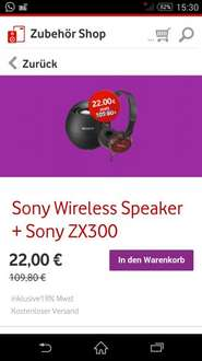 Sony Wireless Speaker + Headset @Vodafone Zubehör app